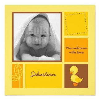 Entlein-gelbe Geburtskarte Einladungskarten