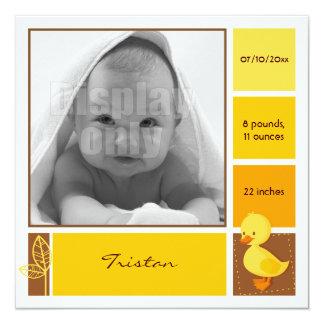 Entlein-gelbe Geburtskarte Personalisierte Ankündigungen