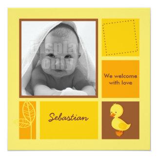 Entlein-gelbe Geburtskarte Quadratische 13,3 Cm Einladungskarte