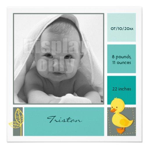 Entlein-grüne Geburtskarte Ankündigungskarten