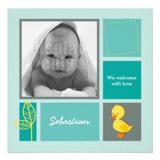 Entlein-grüne Geburtskarte Einladung