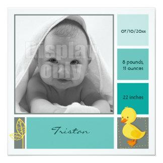 Entlein-grüne Geburtskarte Quadratische 13,3 Cm Einladungskarte
