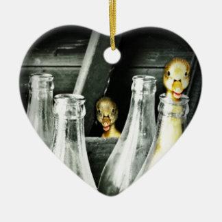 Entlein kommen in Unfug Keramik Herz-Ornament