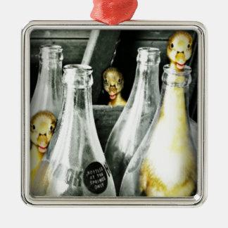 Entlein kommen in Unfug Silbernes Ornament