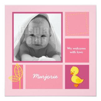 Entlein-rosa Geburtskarte Einladungskarten