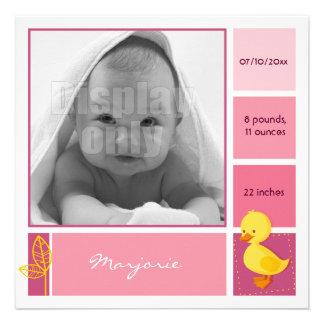 Entlein-rosa Geburtskarte Einladungskarte