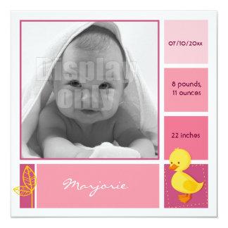 Entlein-rosa Geburtskarte Quadratische 13,3 Cm Einladungskarte