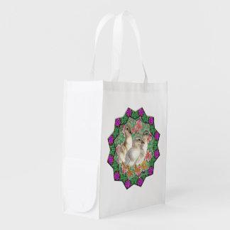 Entlein und Blumen Wiederverwendbare Einkaufstasche