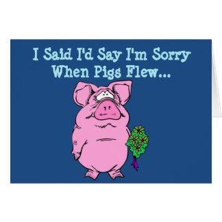 Entschuldigungs-Karte mit Fliegen-Schwein Grußkarte