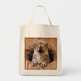 Entsetztes Eichhörnchen Einkaufstasche