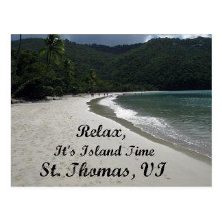 Entspannen Sie sich, es ist Inselzeit, St Thomas Postkarte