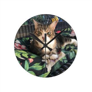 Entspannende Katzen Runde Wanduhr