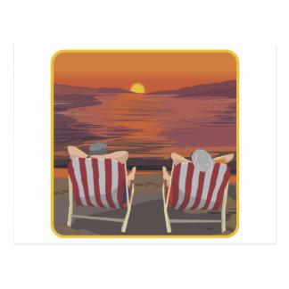 Entspannende tropische Flitterwochen Postkarte