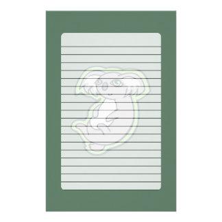 Entspannender Lächeln-grauer Koala-grüner Briefpapier