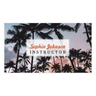 Entspannender tropischer Palme-Sonnenuntergang Visitenkarten