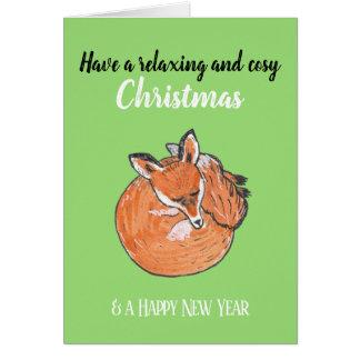 Entspannendes Weihnachten mit einem Schlafen Fox Karte