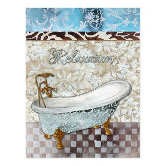 Entspannungs-Badewannen-Postkarte