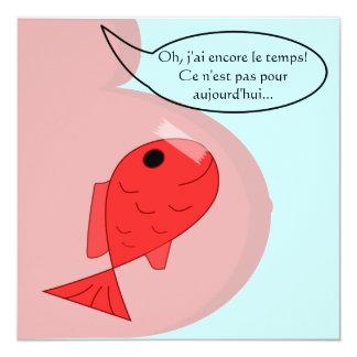 Entstehungsmitteilung Fisch vom April Mädchen Quadratische 13,3 Cm Einladungskarte