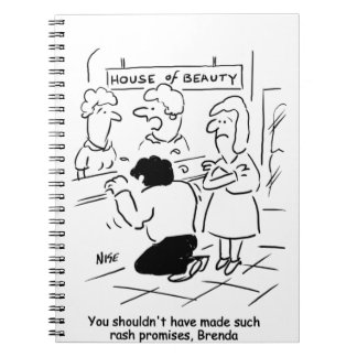 Enttäuschter Ehemann im Schönheits-Salon Spiral Notizblock