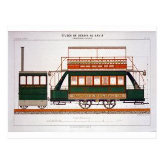 Entwerfen Sie für eine Dampf-Tram, überziehen Sie Postkarte