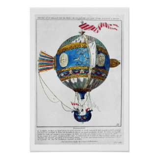 Entwerfen Sie für einen Heißluftballon mit einem D Poster