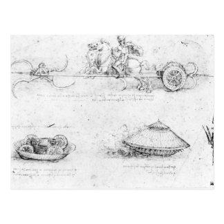Entwerfen Sie für einen scythed Chariot und einen Postkarte