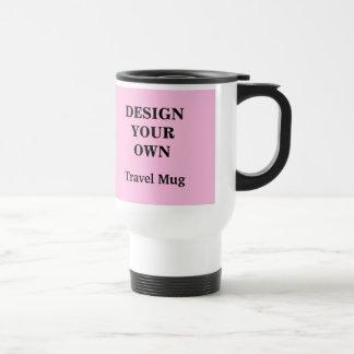 Entwerfen Sie Ihre eigene hellrosa und weiße Reisebecher