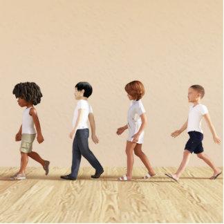 Entwicklung des Kindes mit dem Kinderlernen und Fotoskulptur Button