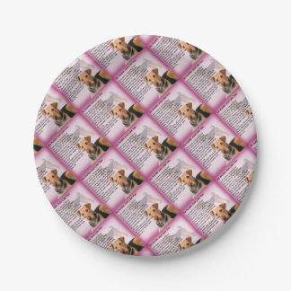Entwurf Airedales Terrier - Tantengedicht Pappteller