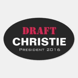 ENTWURF Christie 2016 Oval-Kampagnen-Aufkleber Ovaler Aufkleber