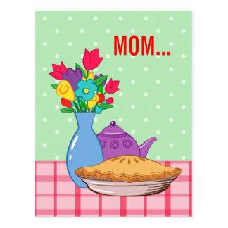 Entwurf der Mutter Tagesmit Blume, Torte und Postkarten