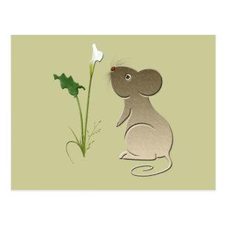 Entwurf der niedlichen Mäuse- und Callalilie Postkarte