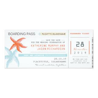 Entwurf des Flugticket-Boarding-Durchlaufs Save 10,2 X 23,5 Cm Einladungskarte
