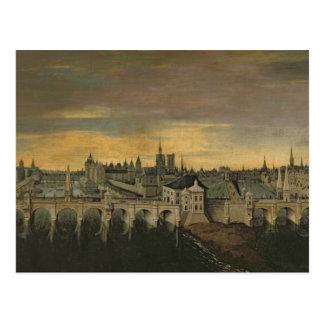 Entwurf für den Bau des Pont-Neuf Postkarte
