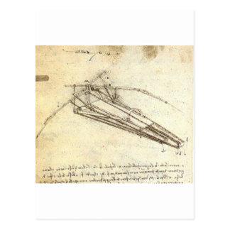 Entwurf für eine Flugmaschine durch Leonardo da Postkarte