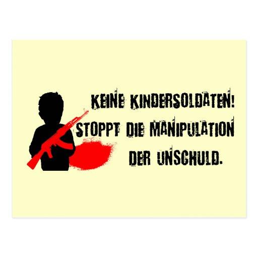 Entwurf für Kinderrechte: Keine Kindersoldaten! Postkarte