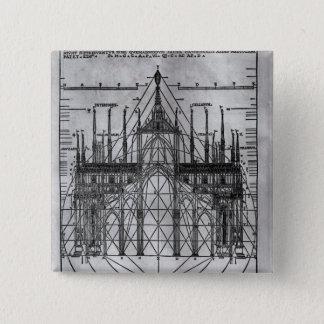 Entwurf für Mailand-Kathedrale Quadratischer Button 5,1 Cm