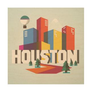 Entwurf Houstons, Stadtbild Texas | Holzleinwand