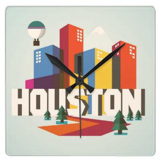 Entwurf Houstons, Stadtbild Texas | Quadratische Wanduhr