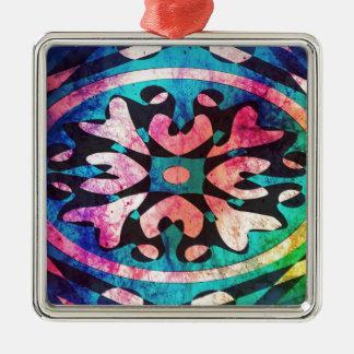 Entwurf im bunten Hintergrund Quadratisches Silberfarbenes Ornament