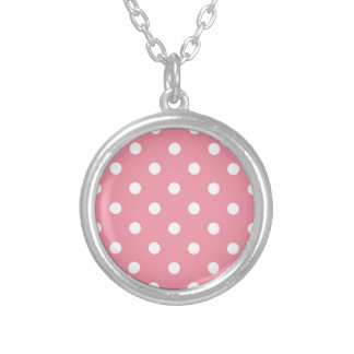 Entwurf punktiert Weiß auf rosa Bonbon Versilberte Kette