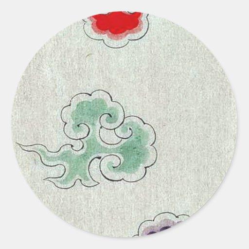 Entwürfe jetzt auf Textilgeweben Ukiyo-e. Runder Aufkleber
