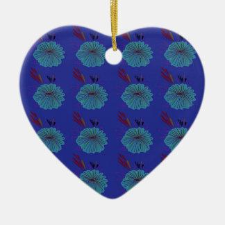 Entwurfs-Blumen blau Keramik Ornament