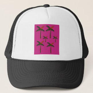 Entwurfs-exotische rosa Palmen Truckerkappe