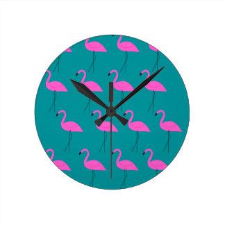 Entwurfs-Flamingos exotisch Runde Wanduhr