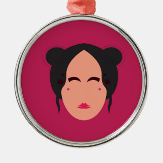 Entwurfs-Geisha auf Rosa Silbernes Ornament