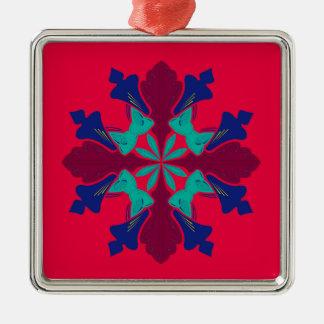 Entwurfs-Mandala Ethno Rot Silbernes Ornament