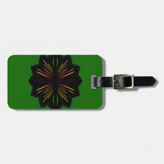 Entwurfs-Mandalas auf grünem ethno Kofferanhänger