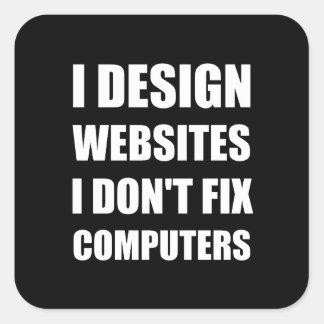 Entwurfs-Website-nicht Verlegenheits-Computer Quadratischer Aufkleber