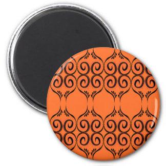 Entwurfselemente ethno Orange Runder Magnet 5,7 Cm